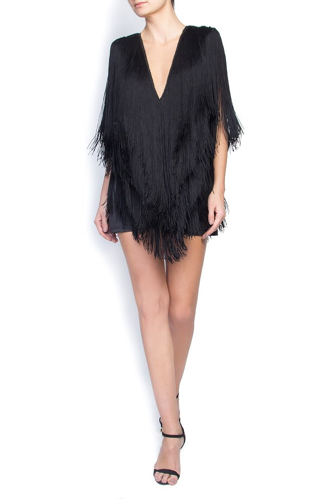 'Patti' fringed satin jumpsuit Manuri image 0