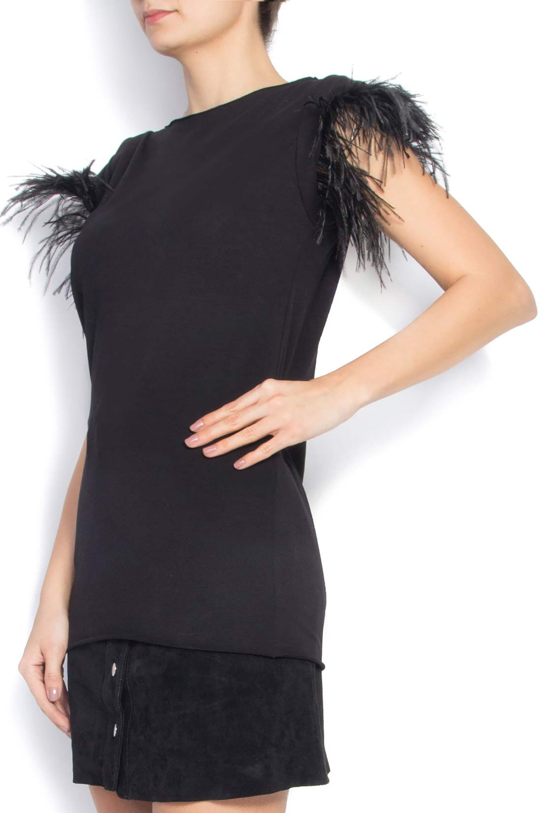 Feather-trimmed cotton T-shirt Manuri image 1