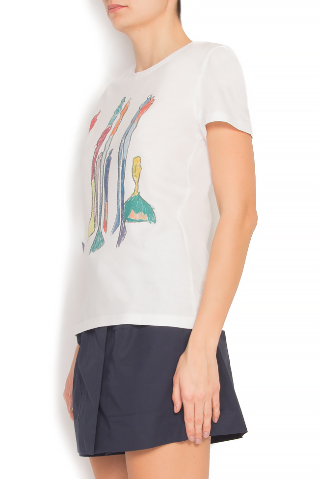 Tricou din bumbac imprimat digital Padurea Alina Petcan imagine 1