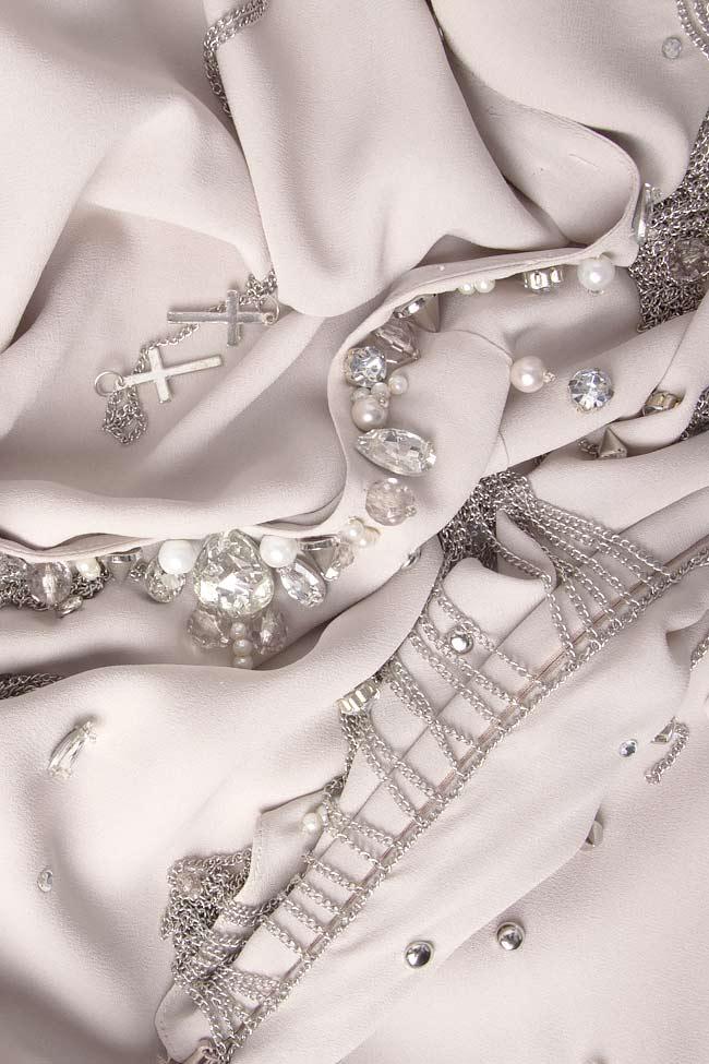Embellished open-back silk dress Manuri image 4