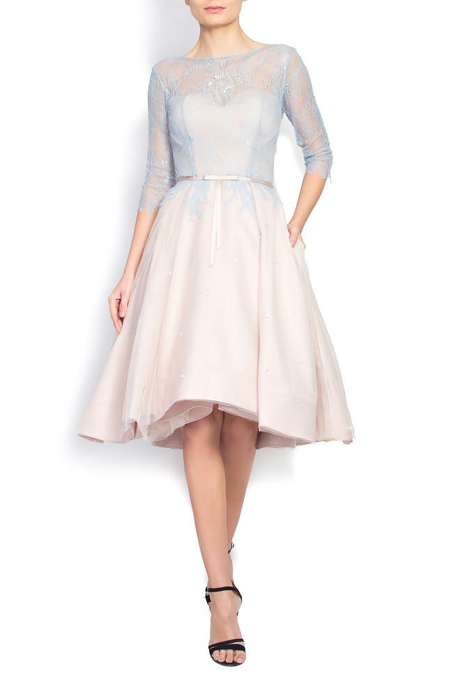 Open-back Chantilly lace asymmetric dress Nicole Enea image 0