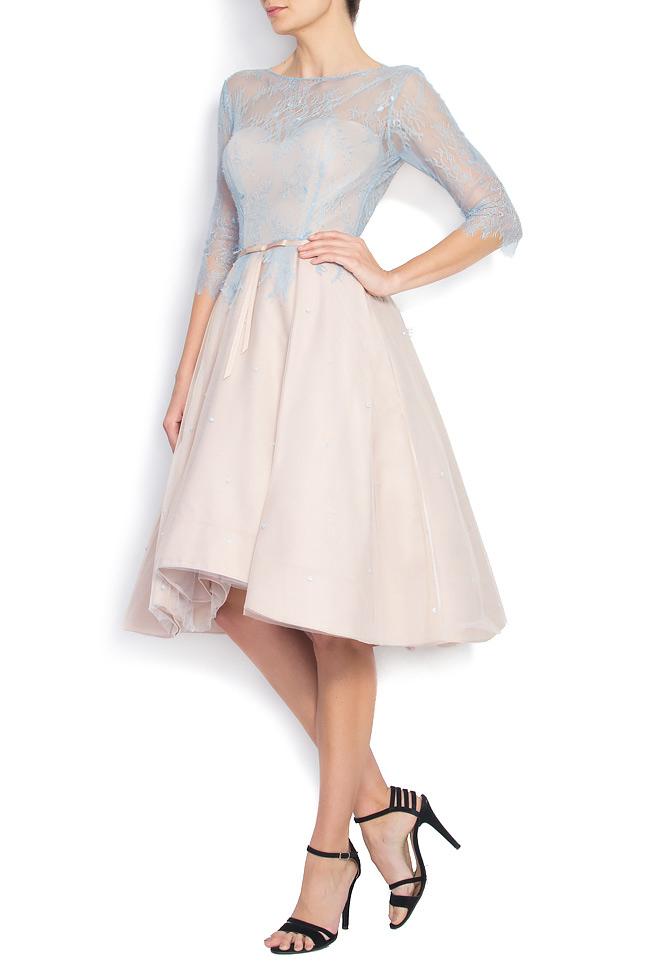 Open-back Chantilly lace asymmetric dress Nicole Enea image 1