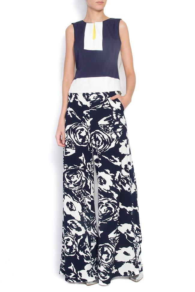 Pantaloni largi din crep cu imprimeu floral Lena Criveanu imagine 0