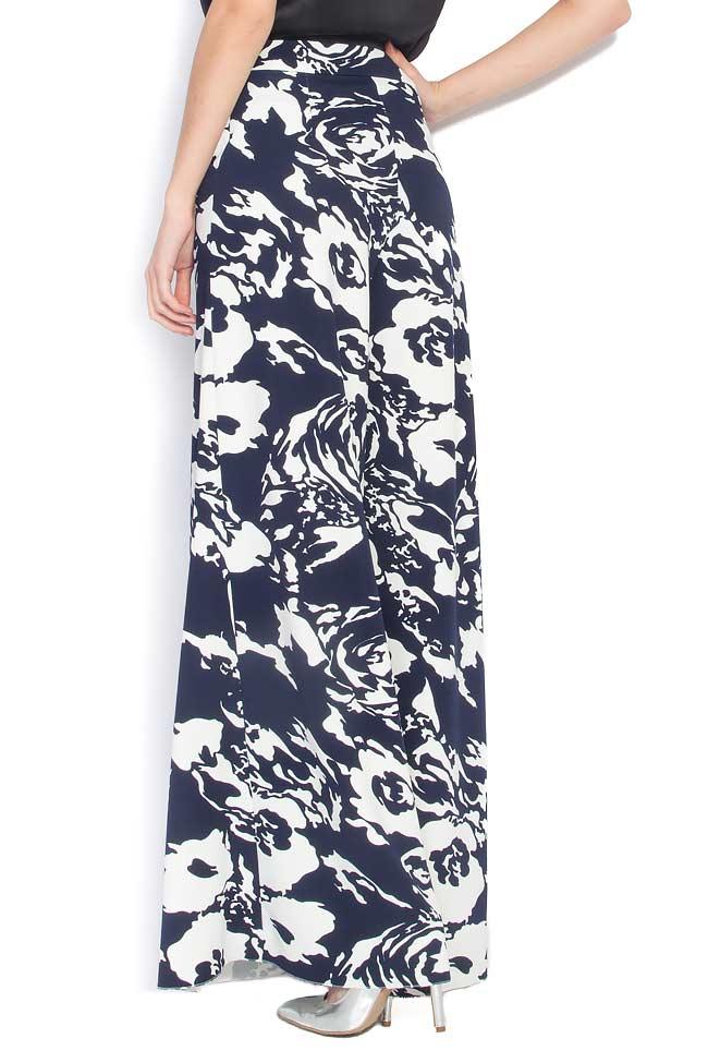 Pantaloni largi din crep cu imprimeu floral Lena Criveanu imagine 2