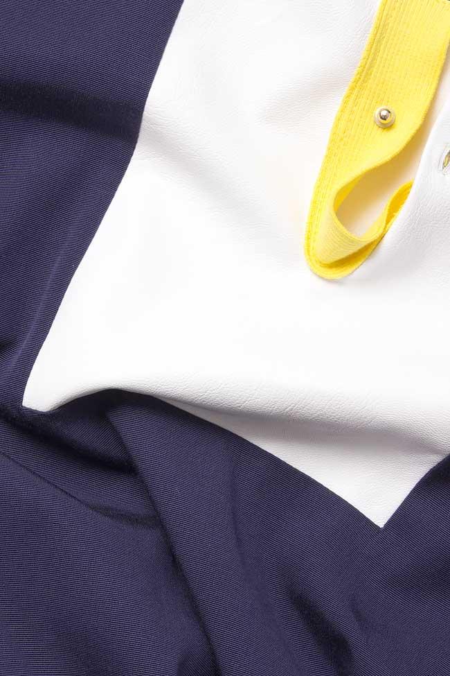 Rochie din jerse cu aplicatie din piele ecologica Lena Criveanu imagine 5