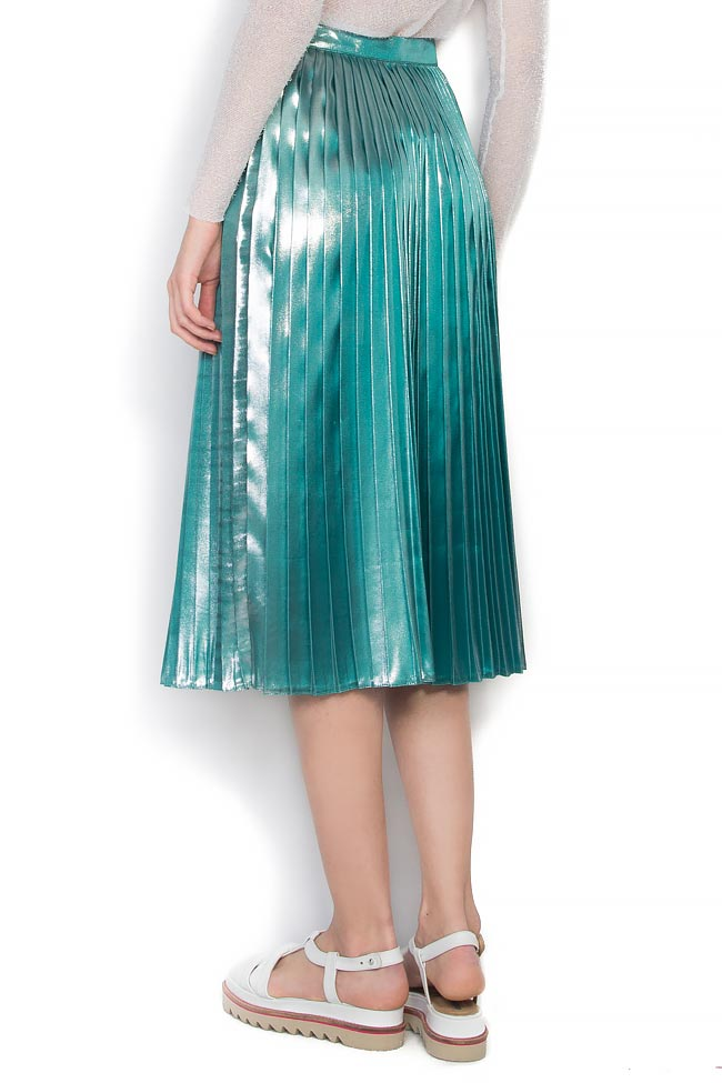 metallic lam 233 pleated skirt midi skirts made to measure