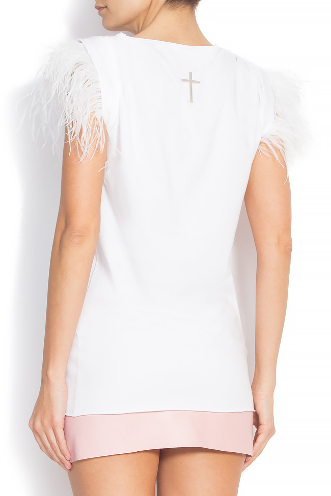 Feather-trimmed cotton T-shirt Manuri image 2