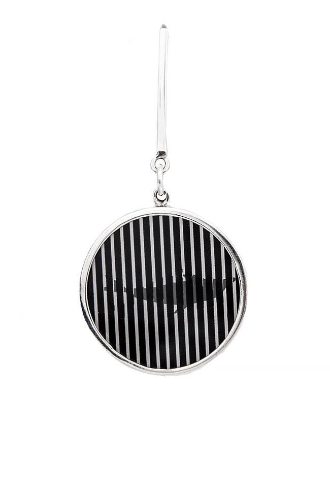 Handmade silver brooch with plexiglas pendant Snob. image 0