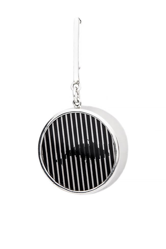 Handmade silver brooch with plexiglas pendant Snob. image 1