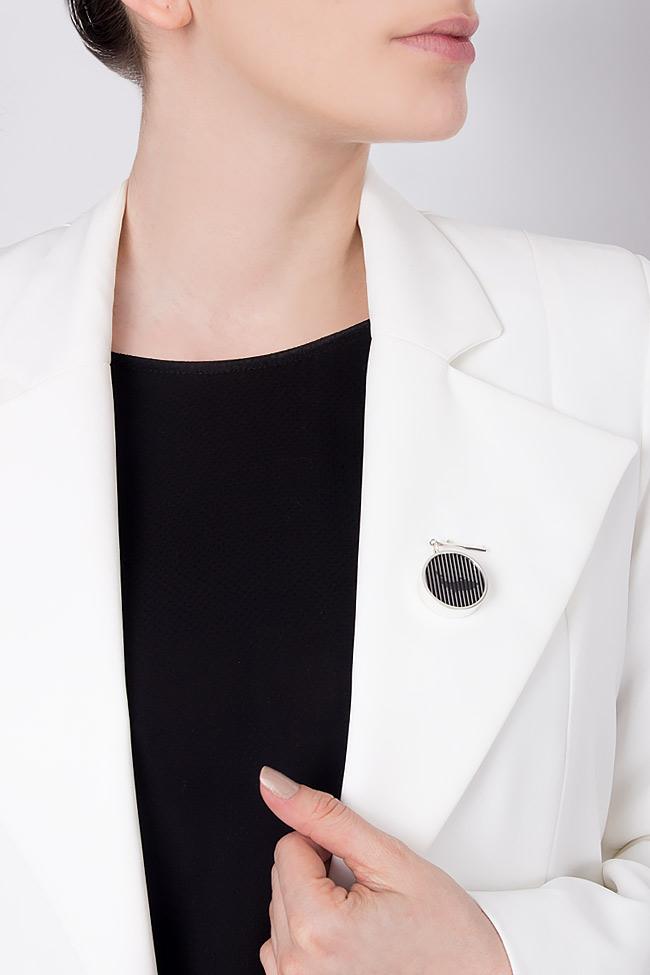 Handmade silver brooch with plexiglas pendant Snob. image 4