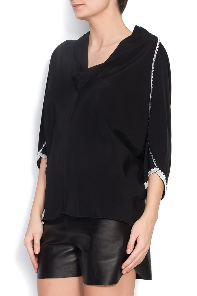 Bluza neagra din jerse cu maneci lasate Lena Criveanu imagine 1