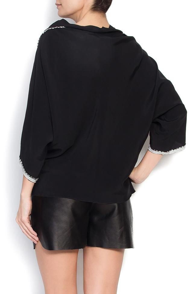 Bluza neagra din jerse cu maneci lasate Lena Criveanu imagine 2