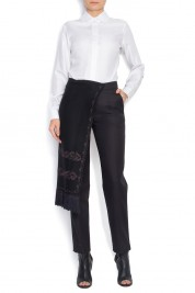 Izabela Mandoiu Wool-piqué skinny pants with unique detachable folk apron