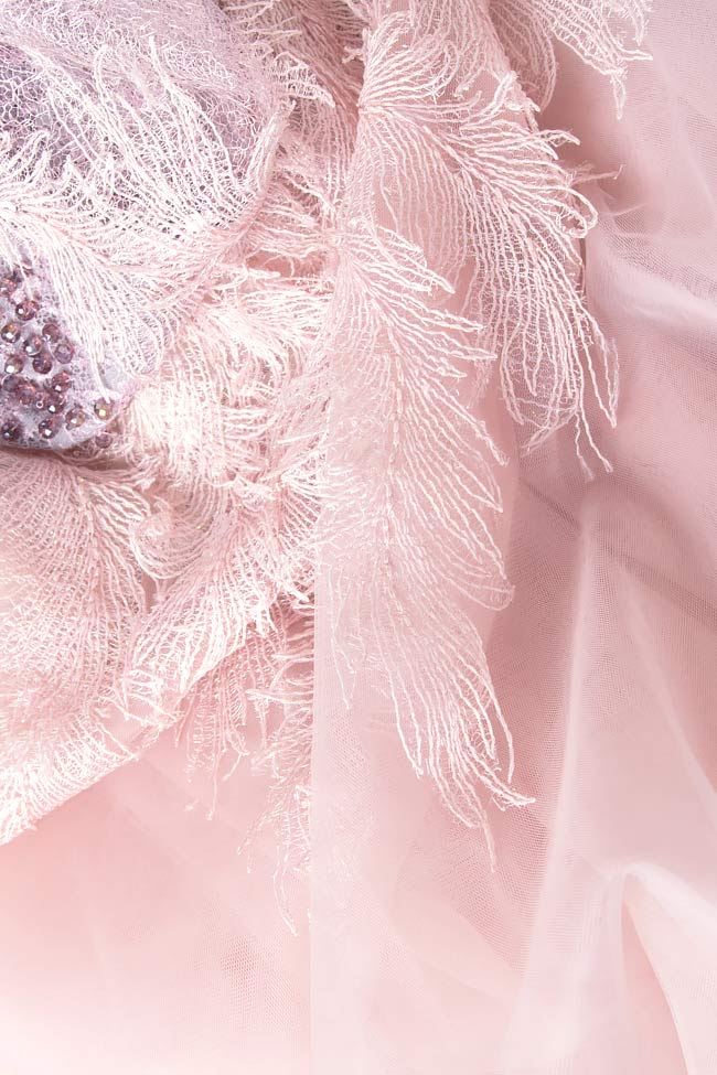 Rochie maxi cu aplicatii manuale din dantela si cristale  Simona Semen imagine 4