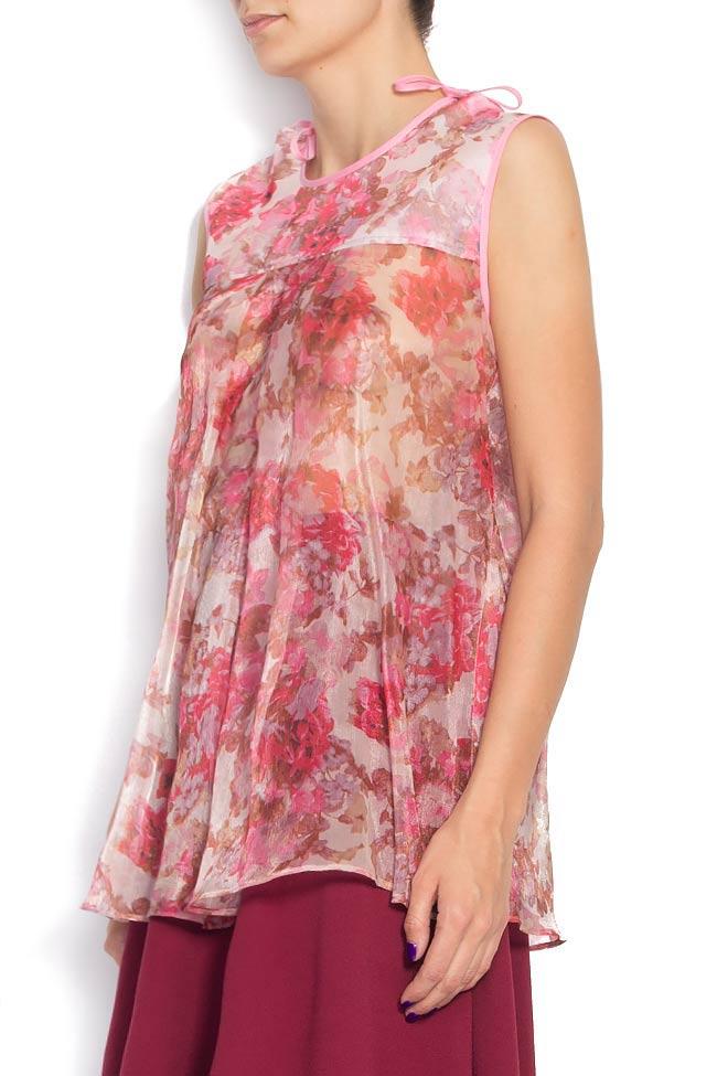 Top din matase cu imprimeu floral Cristina Staicu imagine 1