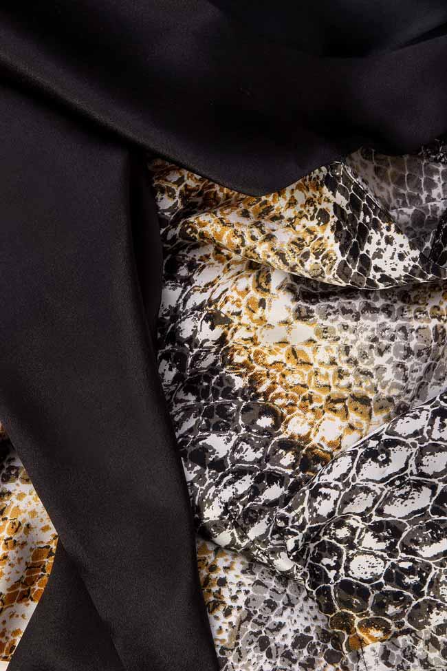 Bluza din matase naturala cu decupaj Snake Grigori Ciliani imagine 3