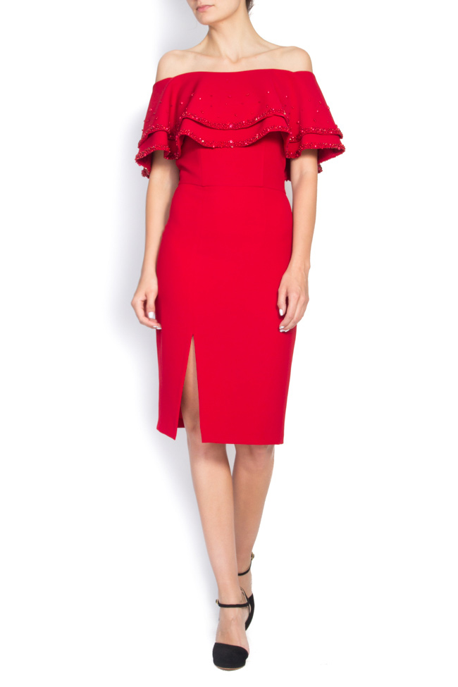 Off-the-shoulder embellished stretch-crepe dress M Marquise image 0