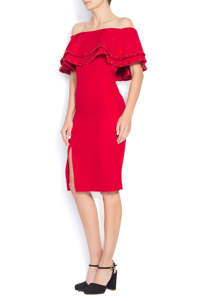 Off-the-shoulder embellished stretch-crepe dress M Marquise image 1