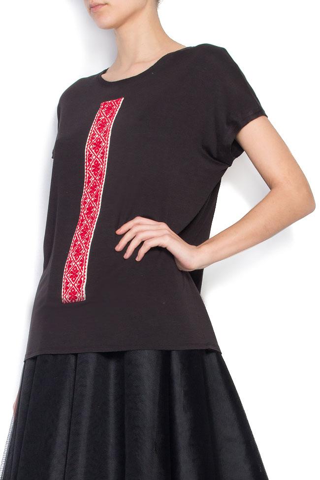 Tricou din bumbac cu broderie traditionala Izabela Mandoiu imagine 1