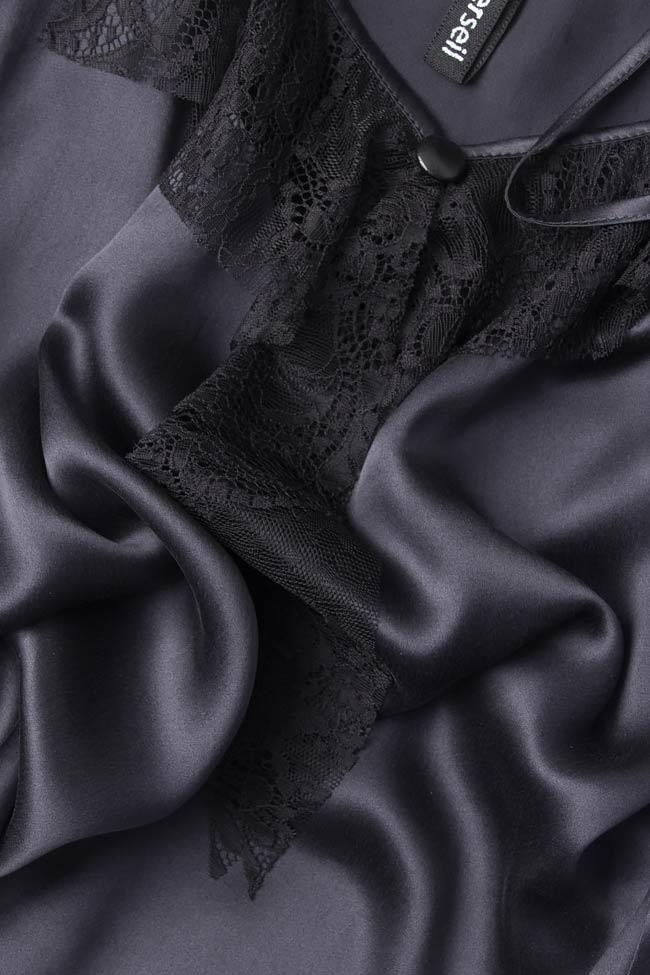 Top din matase naturala cu insertii din dantela Elena Perseil imagine 3