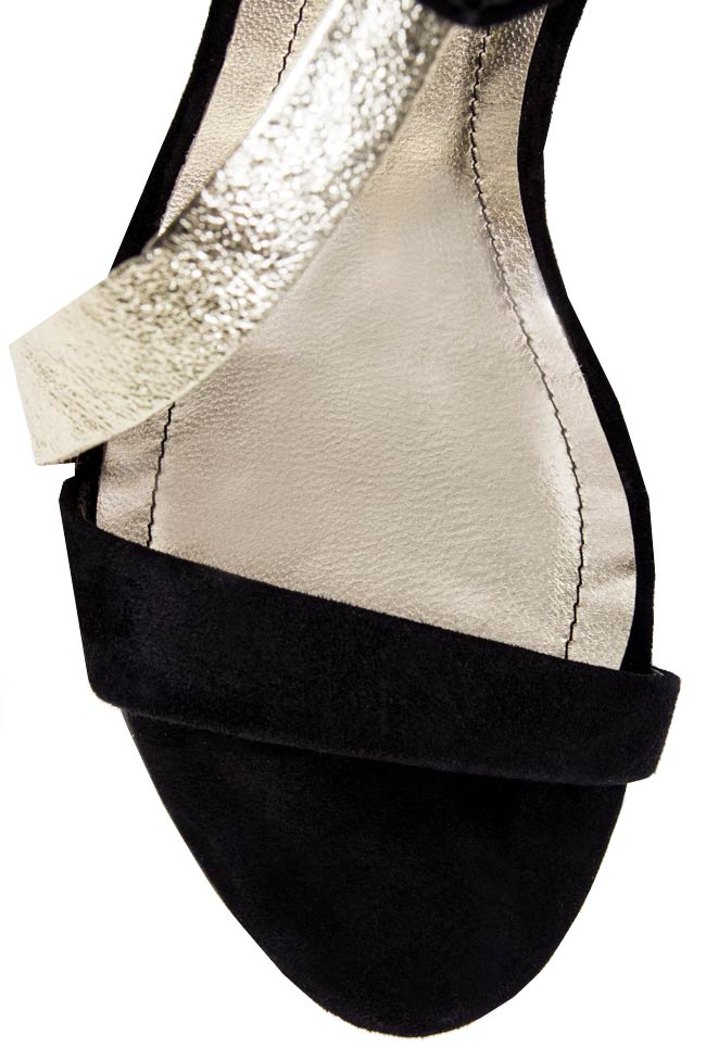 Sandale din piele intoarsa cu bareta transversala Ana Kaloni imagine 3
