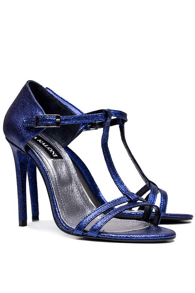 Sandale din piele naturala metalizata Ana Kaloni imagine 1