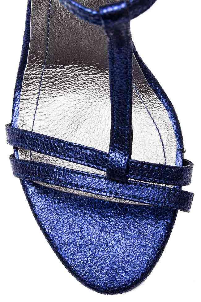 Sandale din piele naturala metalizata Ana Kaloni imagine 3