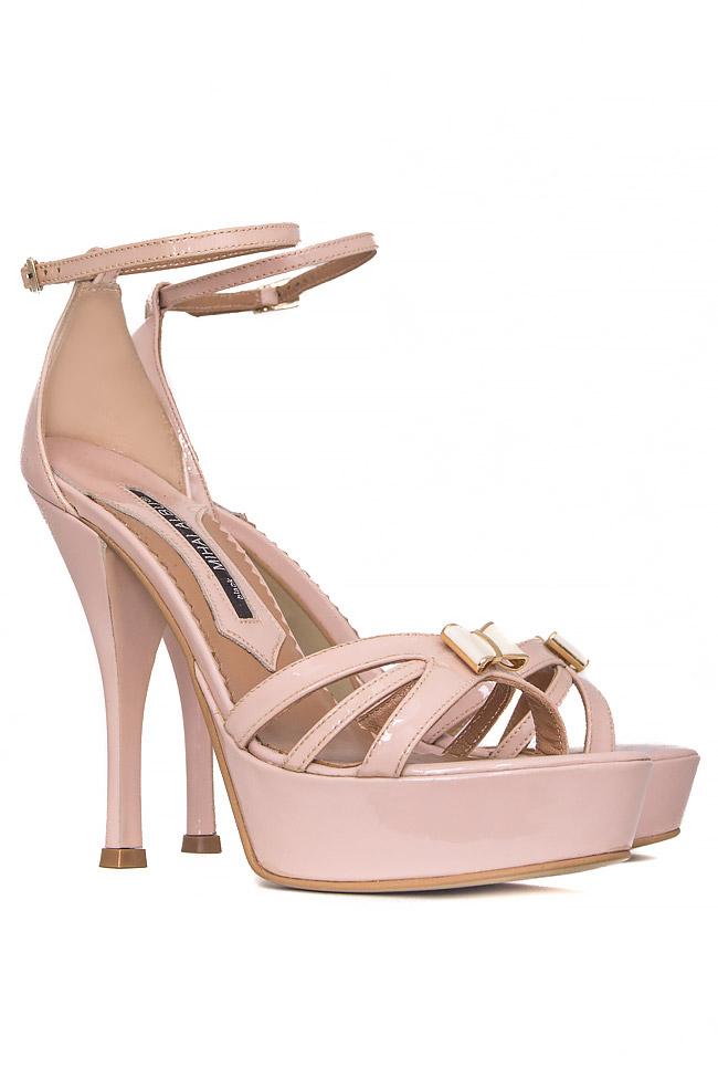 Bow-embellished patent-leather sandals Mihai Albu image 1