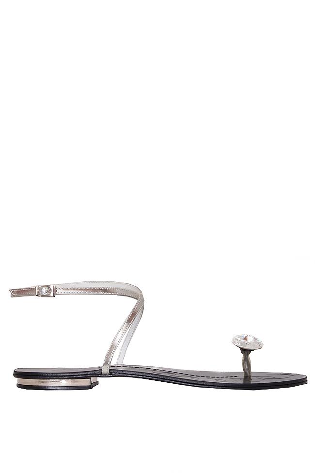 Sandale din piele cu prindere minimala ornate cu cristal Mihai Albu imagine 0