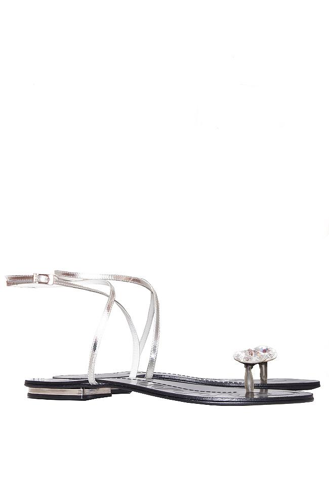Sandale din piele cu prindere minimala ornate cu cristal Mihai Albu imagine 1