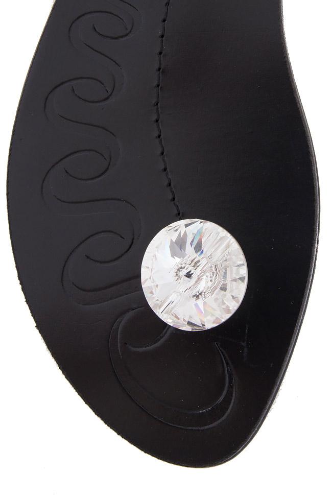 Sandale din piele cu prindere minimala ornate cu cristal Mihai Albu imagine 3