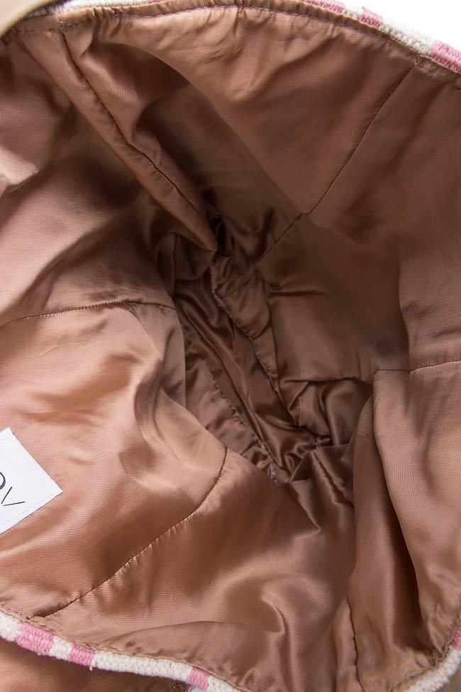 Geanta din bumbac si piele cu broderie realizata manual A03 imagine 3