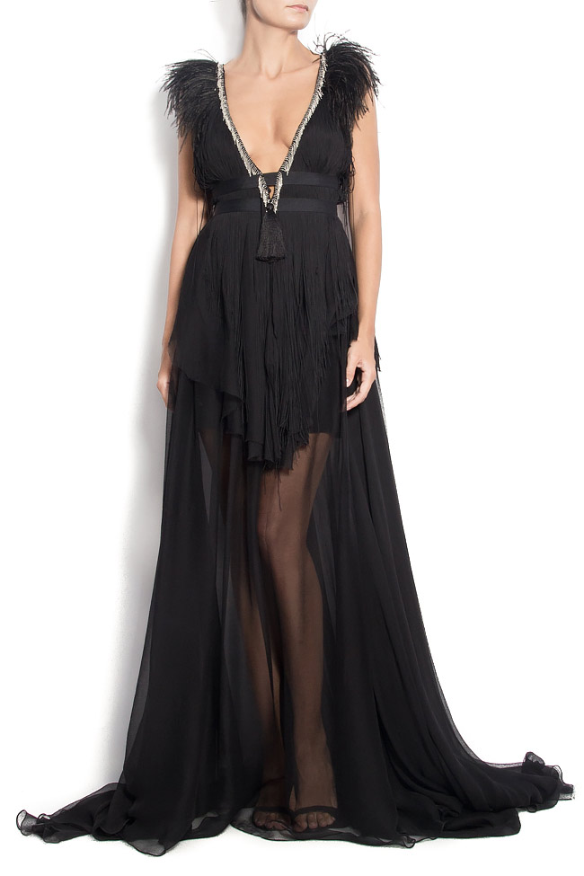 DEBBY open-back silk gown with feathers and fringes Manuri image 0