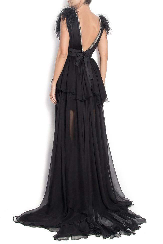 DEBBY open-back silk gown with feathers and fringes Manuri image 2