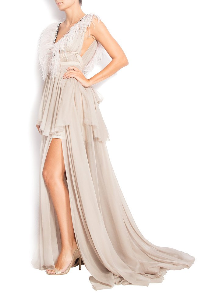 DEBBY GOWN feathered silk gown Manuri image 1