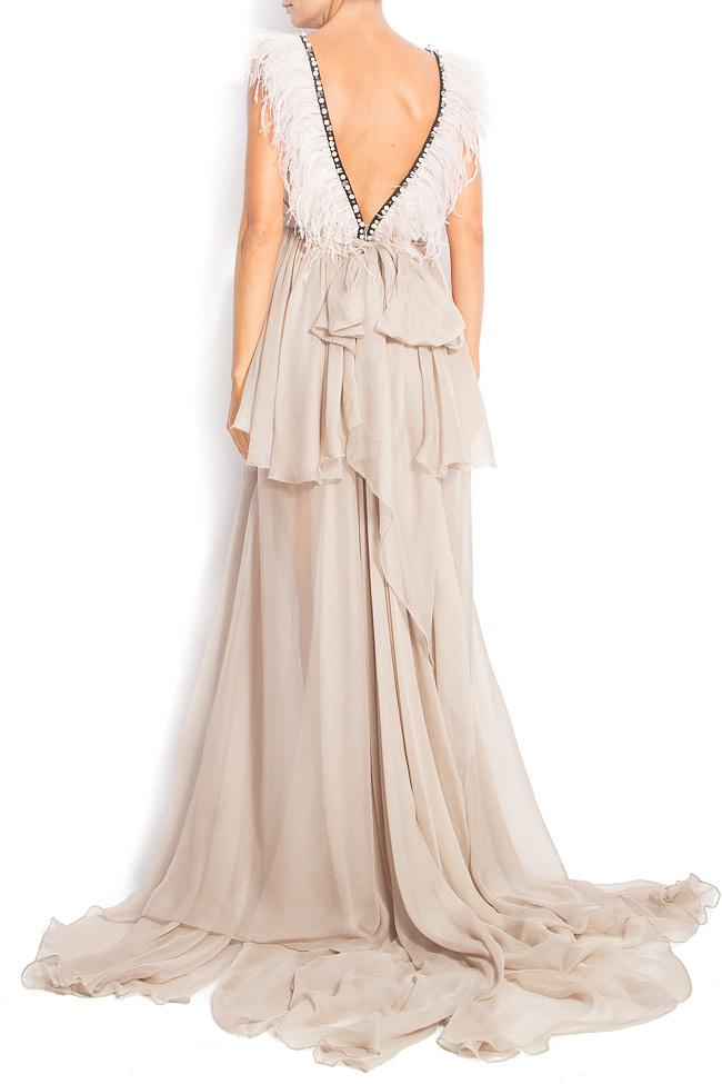 DEBBY GOWN feathered silk gown Manuri image 2
