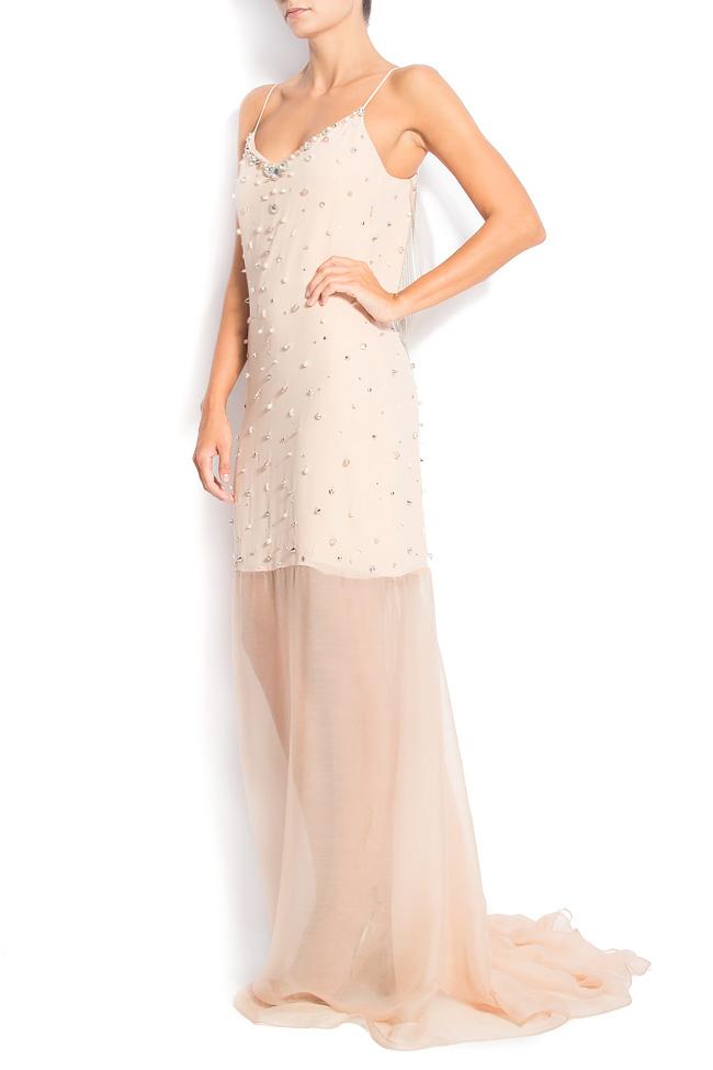 MAXI BEAT open-back embellished silk dress  Manuri image 1