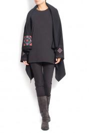 Maressia Cardigan negru din lana cu broderie din matase si guler detasabil