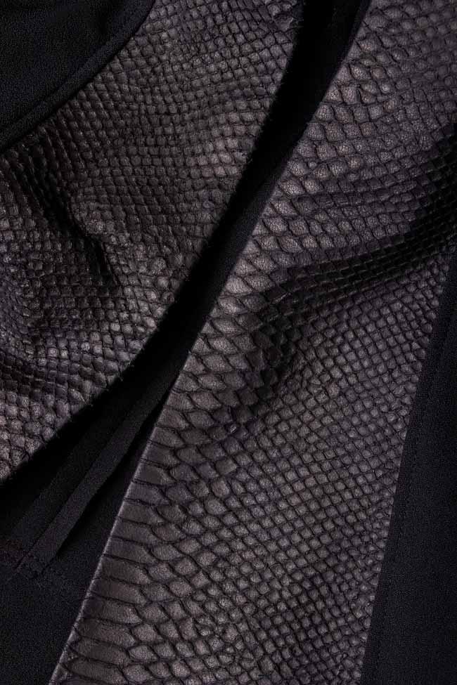 Leather-paneled crepe gilet Anca si Silvia Negulescu image 3