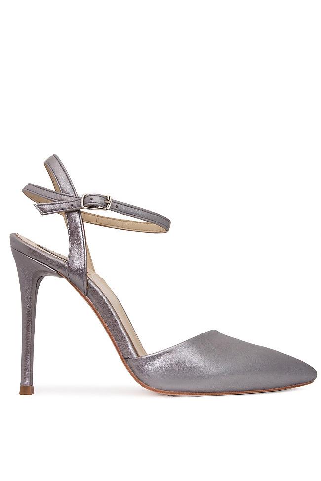 Pantofi din piele naturala metalizata cu bareta pe glezna Hannami imagine 0