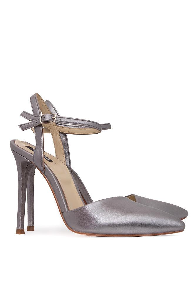 Pantofi din piele naturala metalizata cu bareta pe glezna Hannami imagine 1