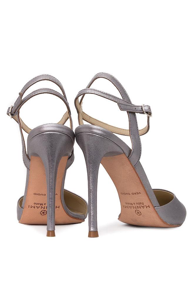 Pantofi din piele naturala metalizata cu bareta pe glezna Hannami imagine 2