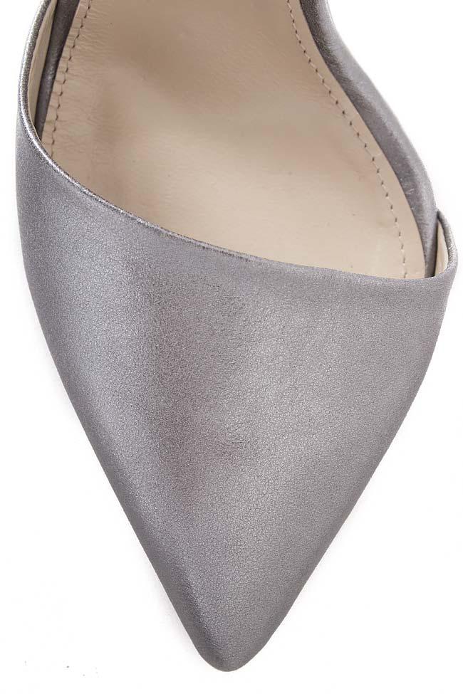 Pantofi din piele naturala metalizata cu bareta pe glezna Hannami imagine 3