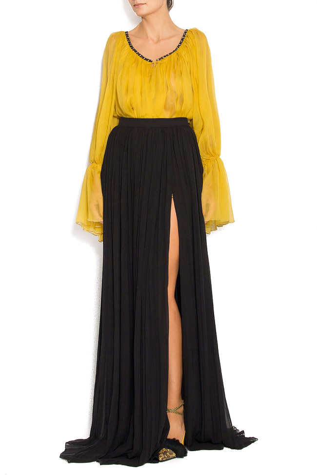 Pleated crinkled-silk maxi skirt Izabela Mandoiu image 0