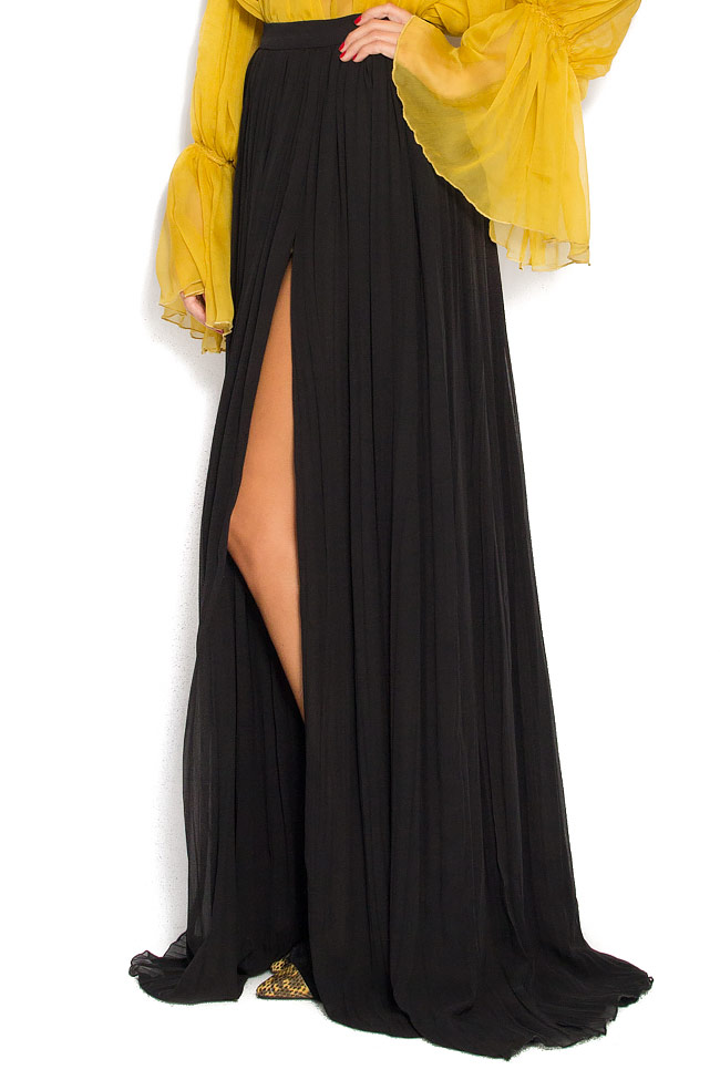 Pleated crinkled-silk maxi skirt Izabela Mandoiu image 1