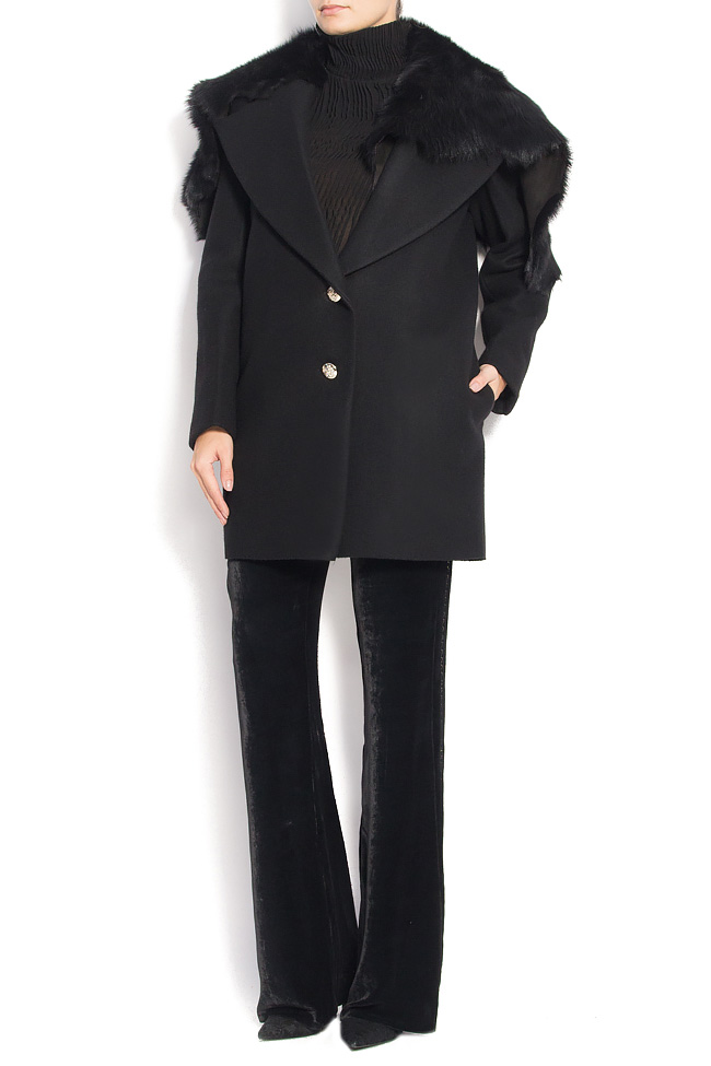 NOMAD wool and cashmere blend coat with fur collar Manuri image 0