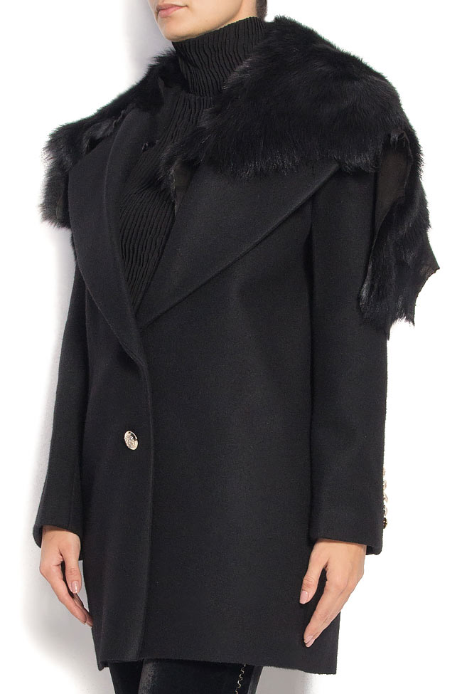 NOMAD wool and cashmere blend coat with fur collar Manuri image 1