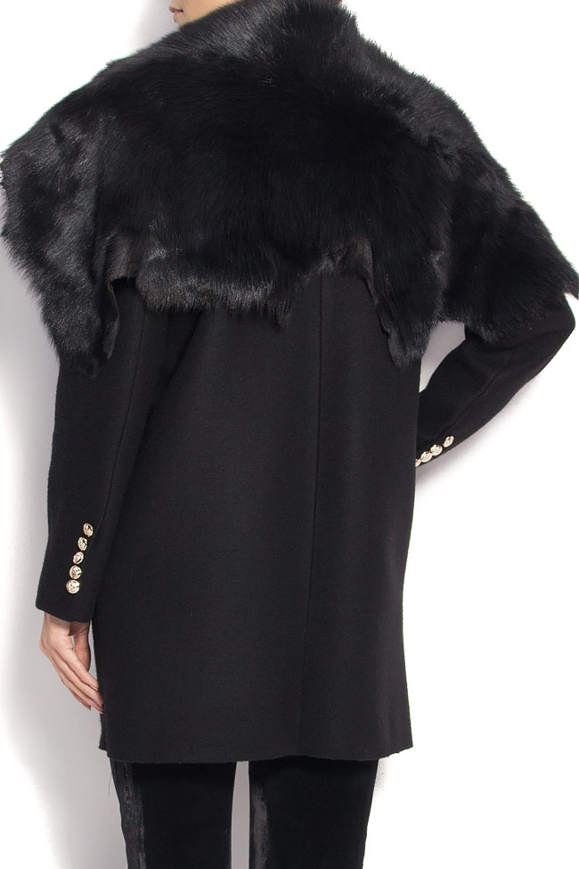 NOMAD wool and cashmere blend coat with fur collar Manuri image 2