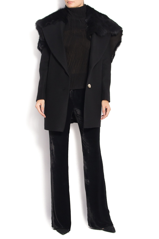 NOMAD wool and cashmere blend coat with fur collar Manuri image 3
