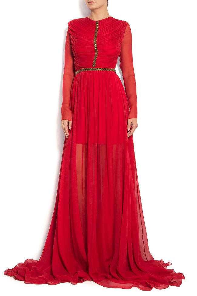 Red Cassidy Gown Silk dress with cut out back Manuri image 1